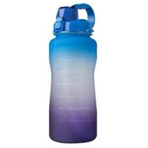 Sport Water Bottle with Locking Flip-Flop Lid and Drinking Straw and Motivational Time Marker BPA Free (2,000ml)